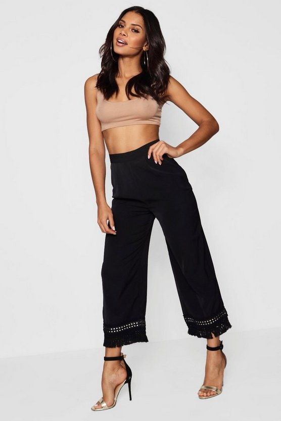 Embroidered Mirror Hem Culotte