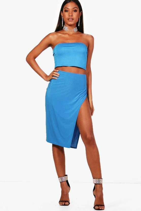 Skinny Thigh Split Midi Skirt