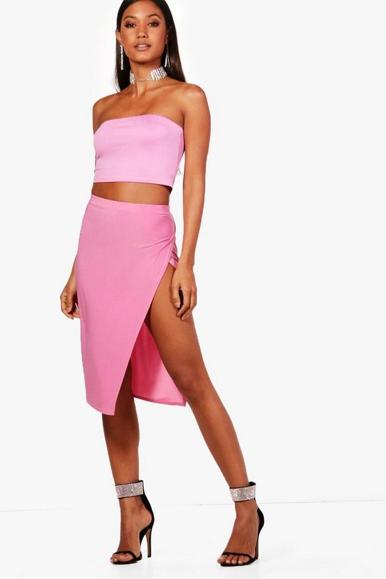 Annie Skinny Thigh Split Midi Skirt