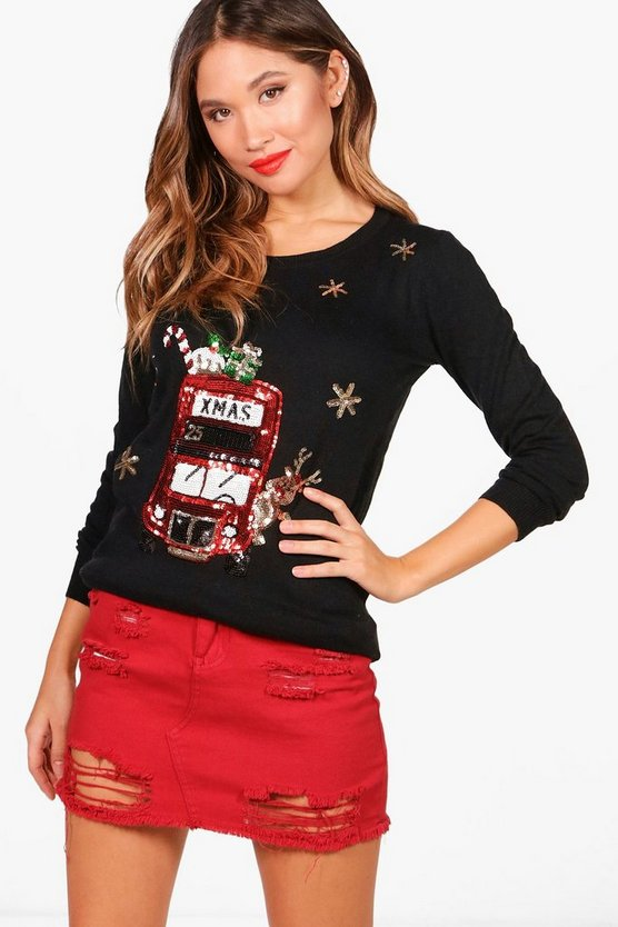 London Bus Sequin Christmas Jumper