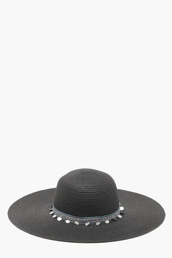 Hettie Aztec Coin Trim Straw Floppy Hat