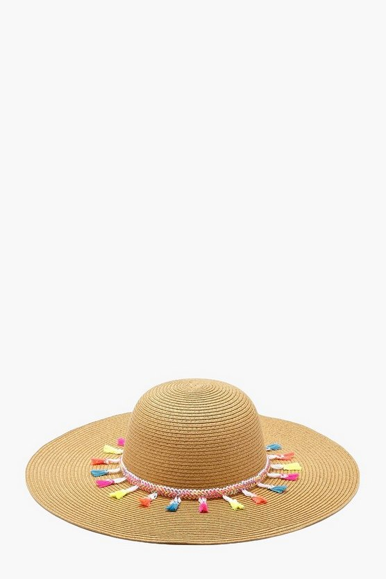Bright Tassel Straw Floppy Hat