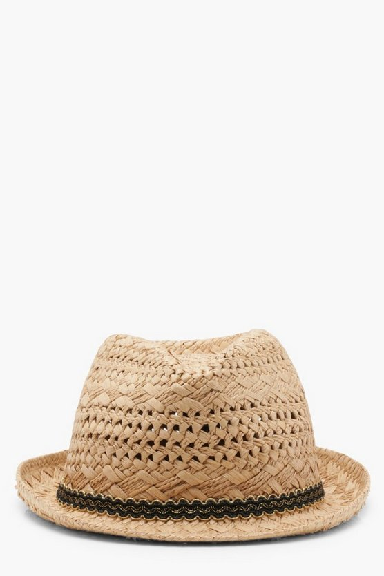 Georgie Scallop Edge Trim Straw Trilby Hat