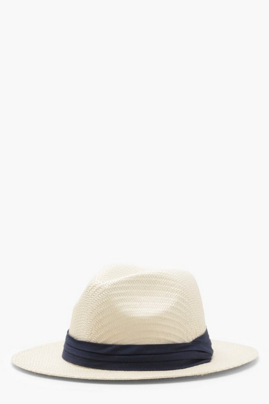 Kerry Navy Trim Straw Fedora Hat