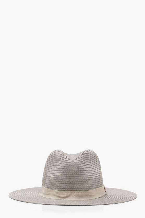 Jess Plain Band Straw Fedora Hat
