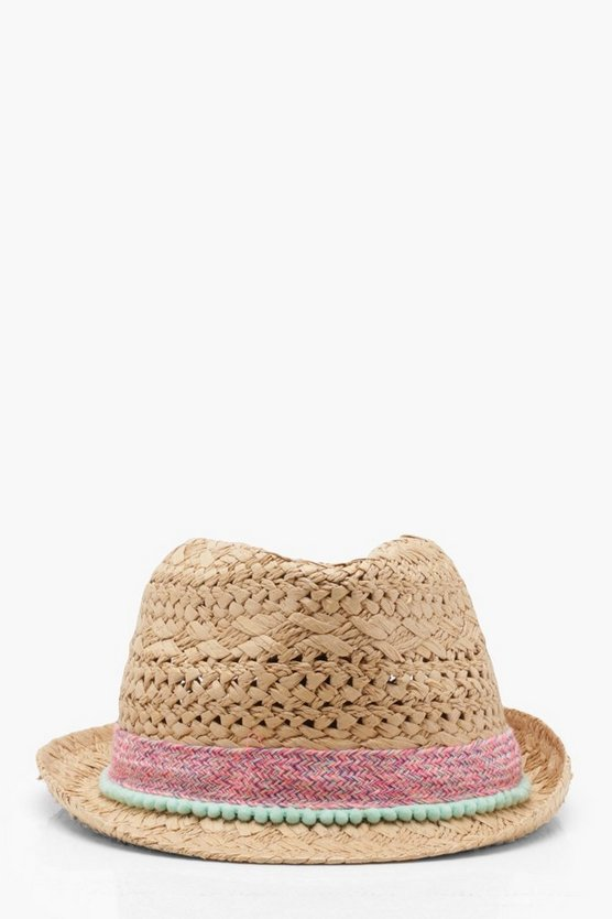 Ellie Friendship Band Straw Trilby