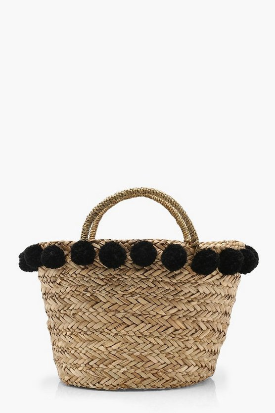 Olivia Large Pom Pom Basket Bag