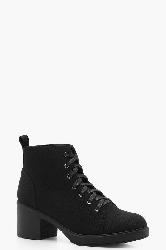 Phoebe Lace Up Canvas Ankle Boots