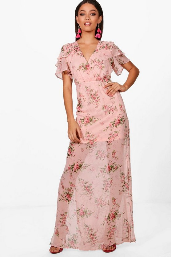 Boutiue Em Ditsy Floral Angel Sleeve Maxi Dress