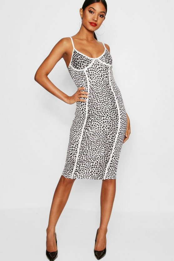 Elzia Animal Print Panelled Midi Dress