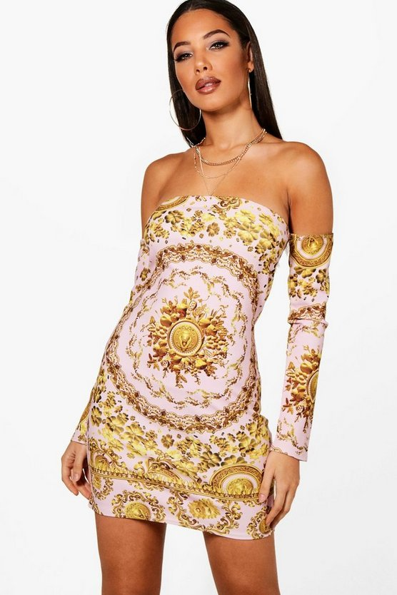 Baroque Off the Shoulder Bodycon Dress