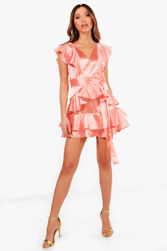 Boutique Erin Ruffle Skirt Satin Skater Dress