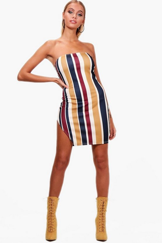 Fay Stripe Bandeau Thigh Split Bodycon Dress