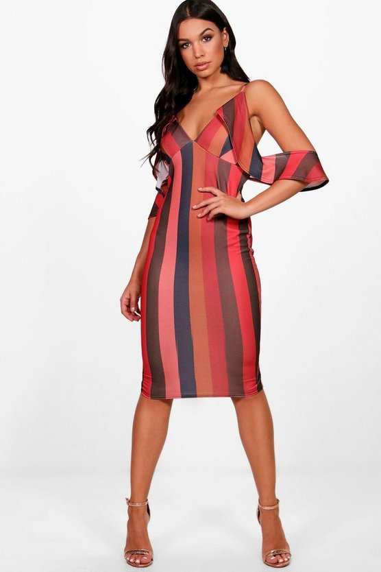 Stripe Cold Ruffle Shoulder Midi Dress