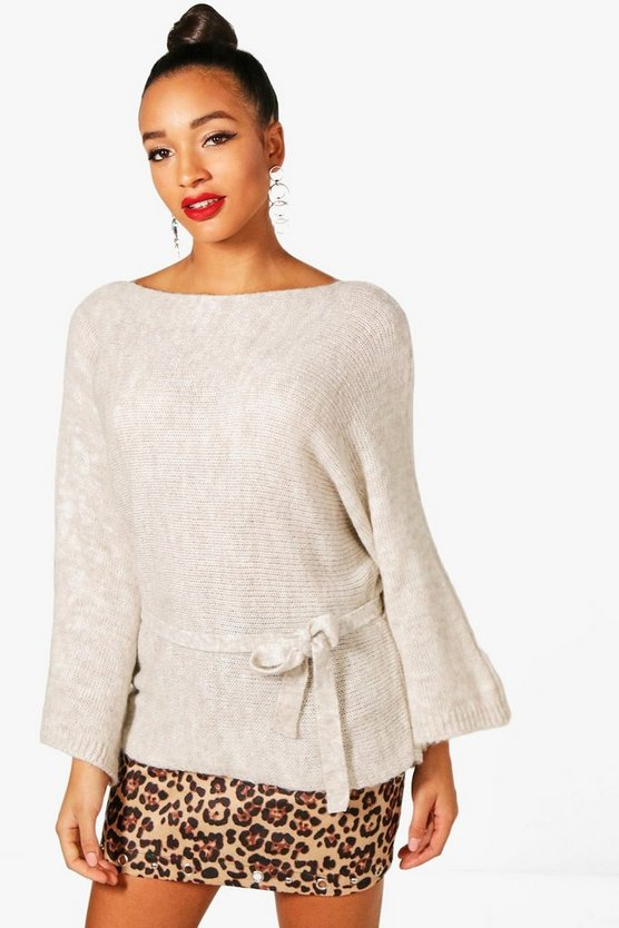 Simone Batwing Belted Knit Jumper