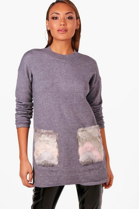 Freya Turtle Neck Fur Pocket Oversized Jumper