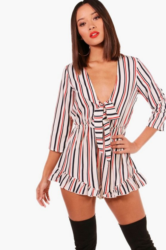 Tie Front Stripe Playsuit