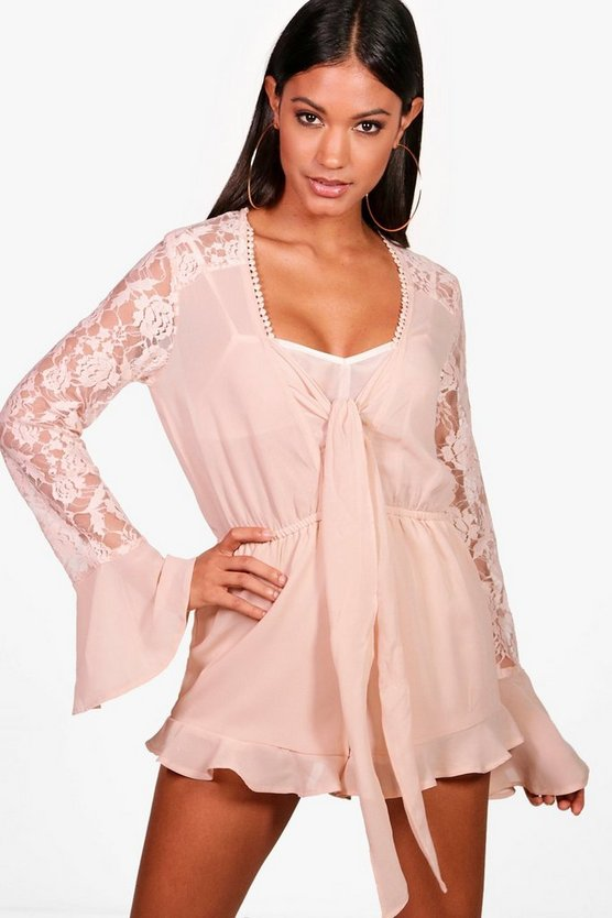 Lace Tie Front Playsuit