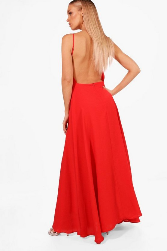 Boutique Tia Open Back Chiffon Maxi Dress
