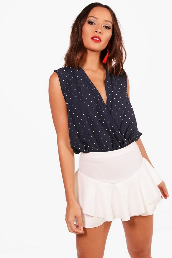 Jessica Sleeveless Polka Dot Bodysuit