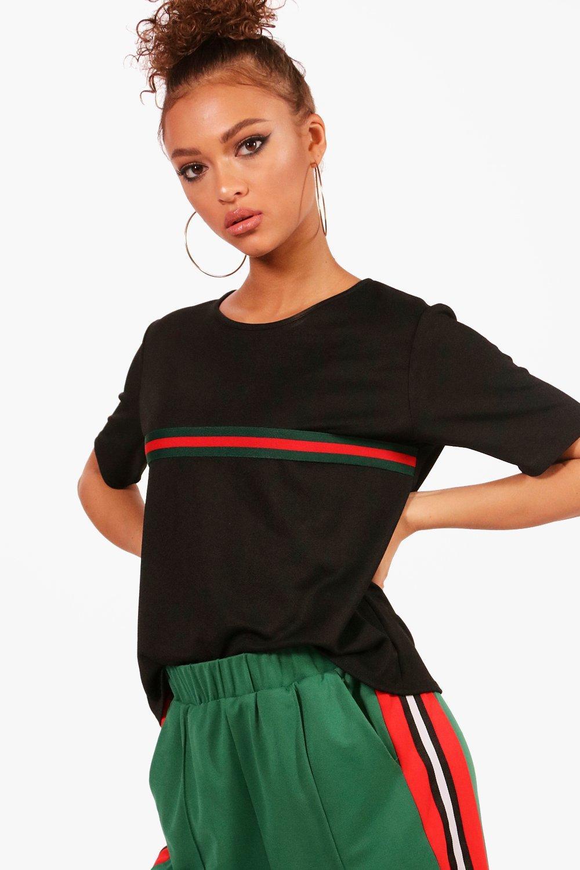 Womens Sportliche Placement T-Shirt mit Streifen - schwarz - 36, Schwarz - Boohoo.com