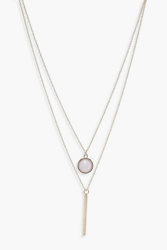 Layered Moonstone and Bar Necklace