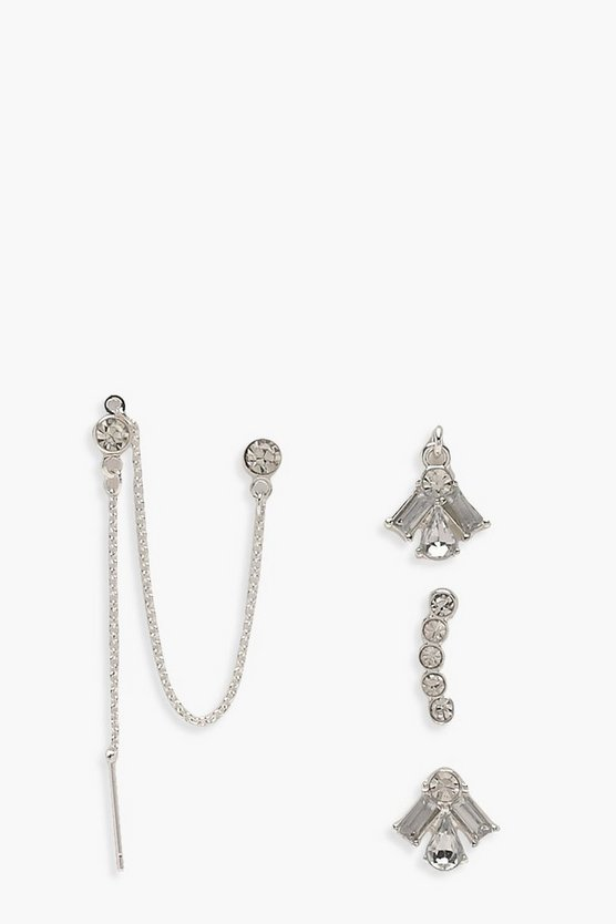 Jessy Diamante Stud and Chain Earring 5 pack
