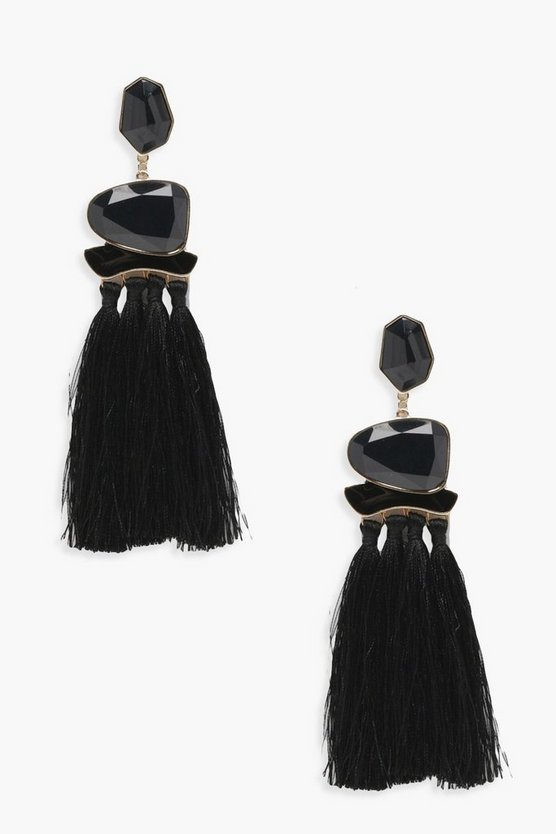 Gemma Stone and Tassel Statement Earrings