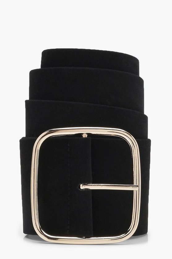 Square Buckle Suedette Belt by Boohoo