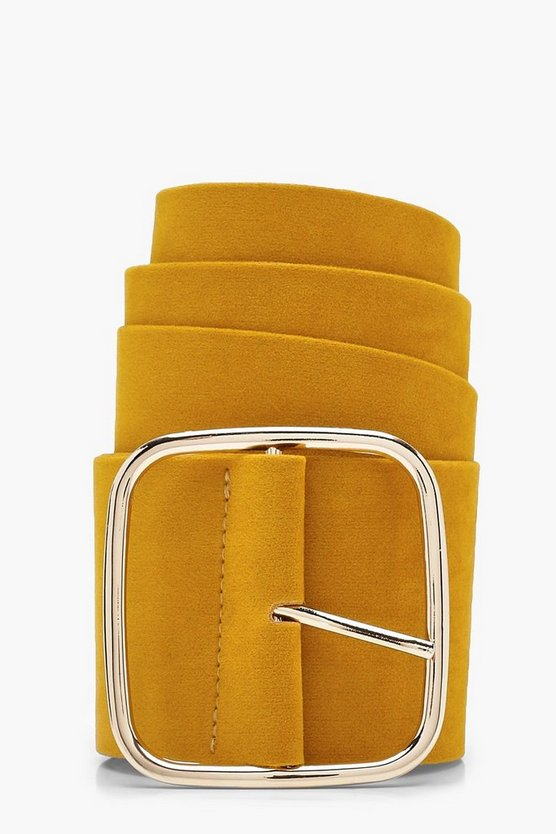 Cameron Square Buckle Suedette Belt