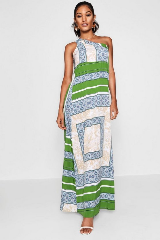 One Shoulder Scarf Print Maxi Dress