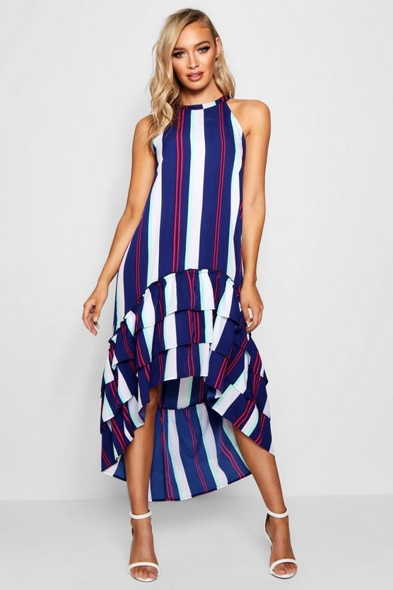 Mila Stripe Clipped Hem Tiered Shift Dress