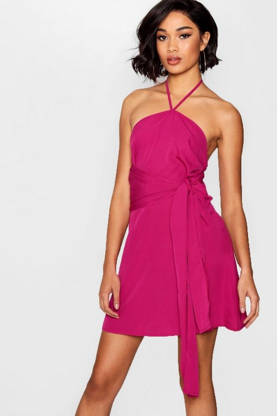 Halterneck Tie Front Shift Dress