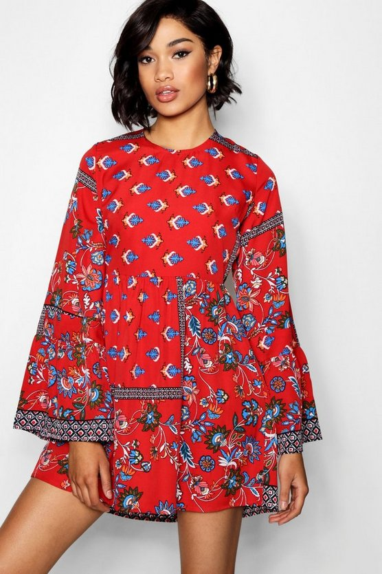 Lo Extreme Flute Sleeve Paisley Skater Dress