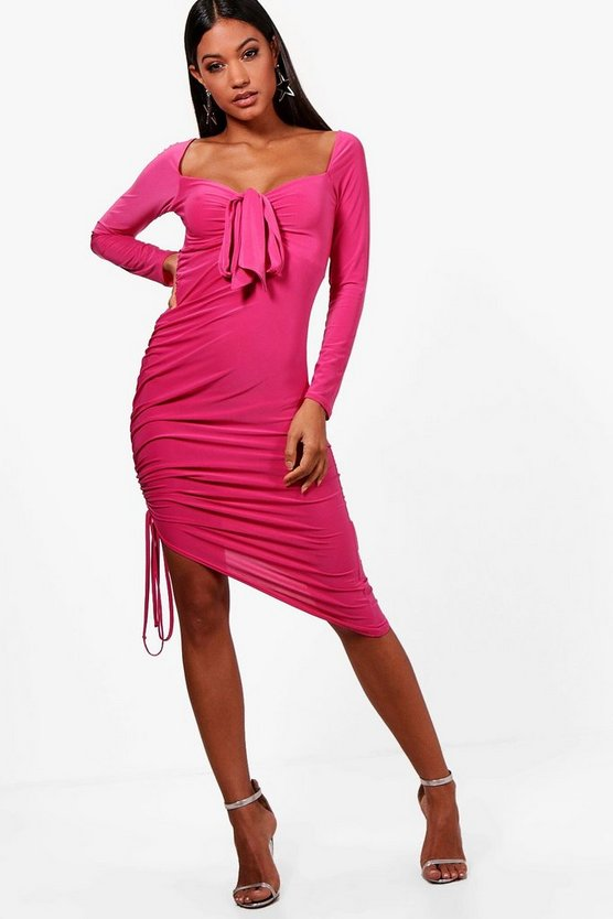 Slinky and Ruched Tie Detail Midi Dress