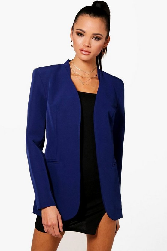 Megan Collarless Fitted Blazer