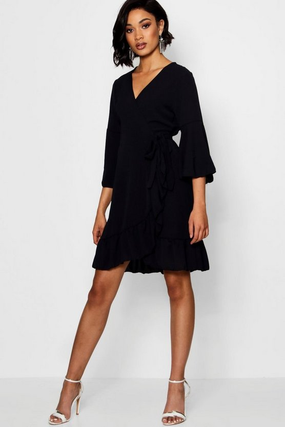 Zoe Wrap Ruffle Tea Dress