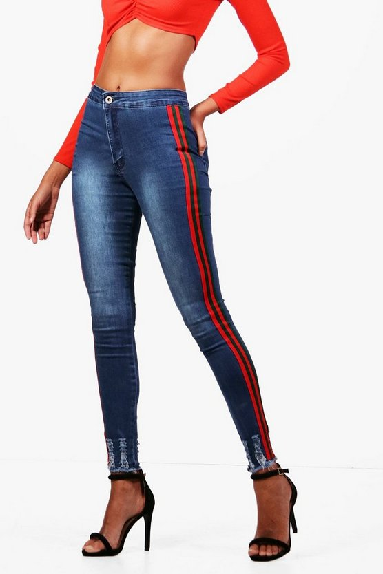 Sofie Sports Stripe Distressed Hem Skinny Jeans