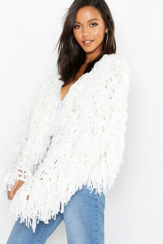 Annie Cropped Shaggy Knit Cardigan