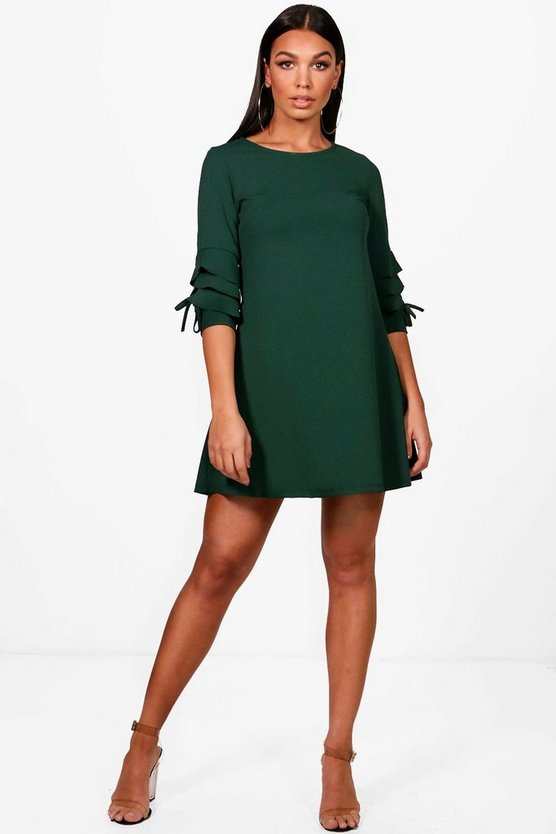 Tabetha Ruffle Sleeve Bow Shift Dress