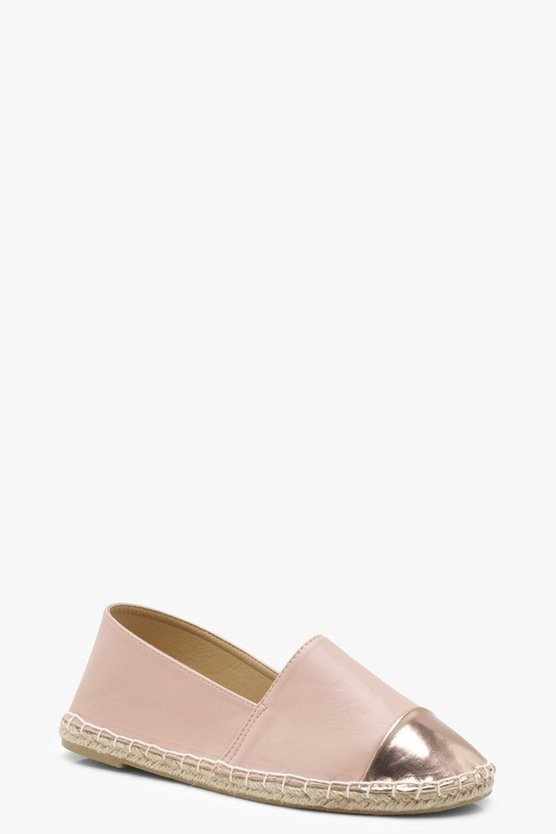 Holly Contrast Toe Cap Espadrille Flats