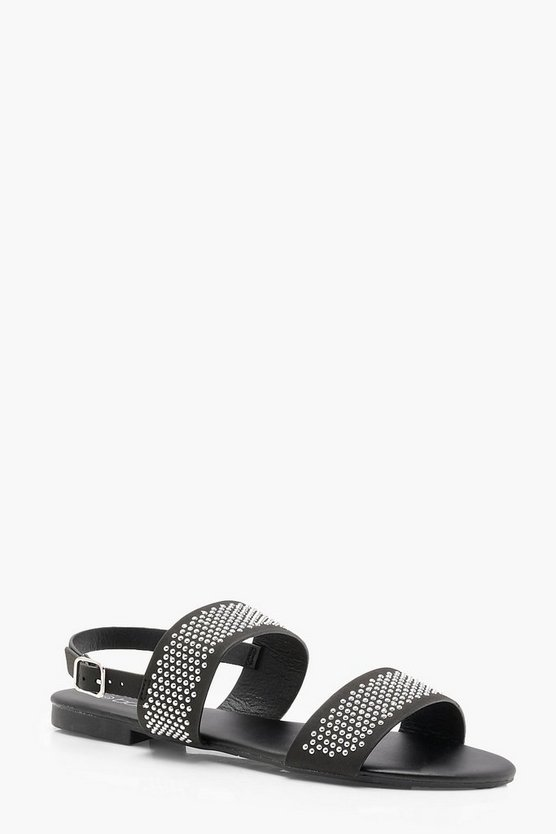 Skye Wide Fit Pin Stud Double Strap Sandals