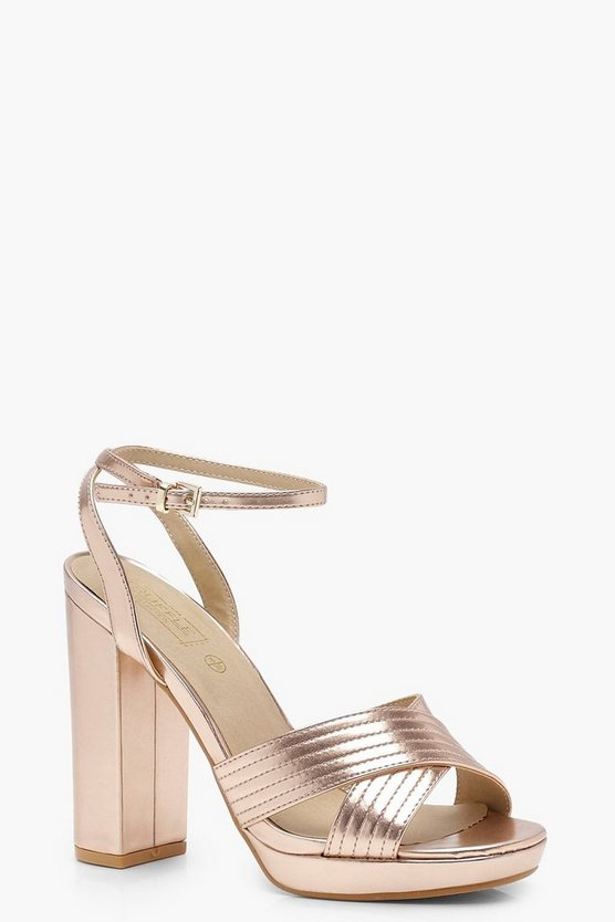 Metallic Cross Strap Platform Heels