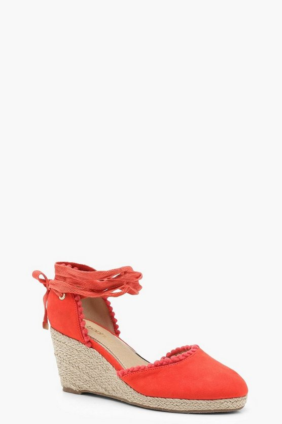 Nicole Wide Fit Pom Trim Mid Heel Wedges