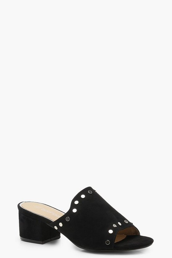 Wide Fit Studded Mules
