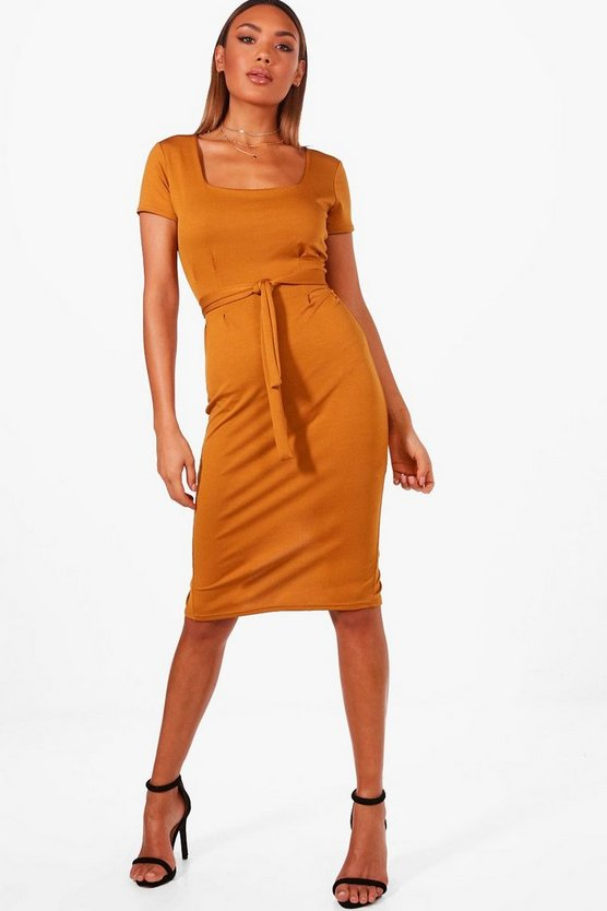 Ava Square Neck Pleat Front Dress