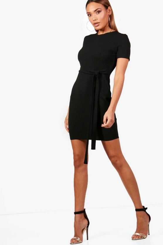 Belted Fitted Midi Tailored Dress