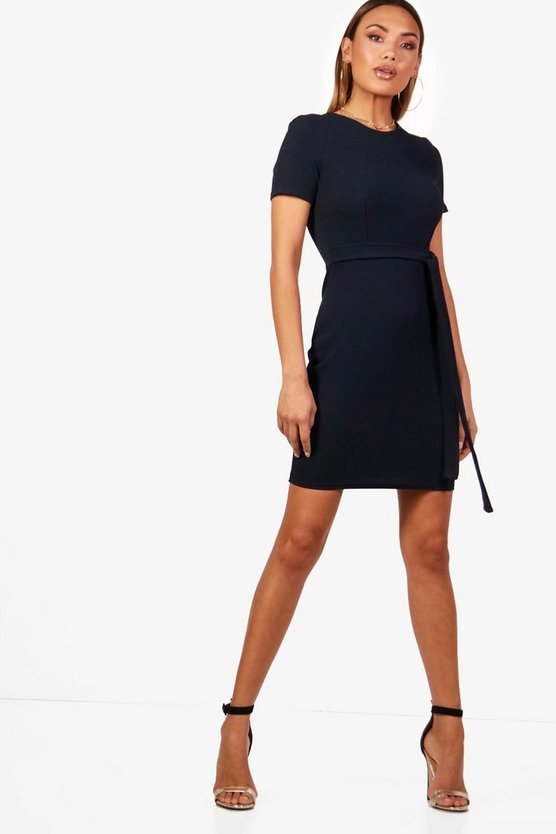 Amy Belted Fitted Midi Tailored Dress