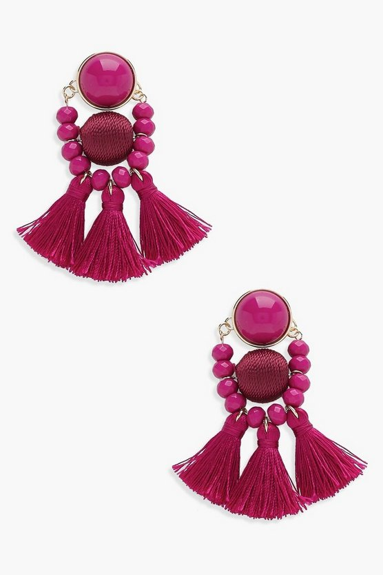 Morgan Bead and Tassel Statement Earrings