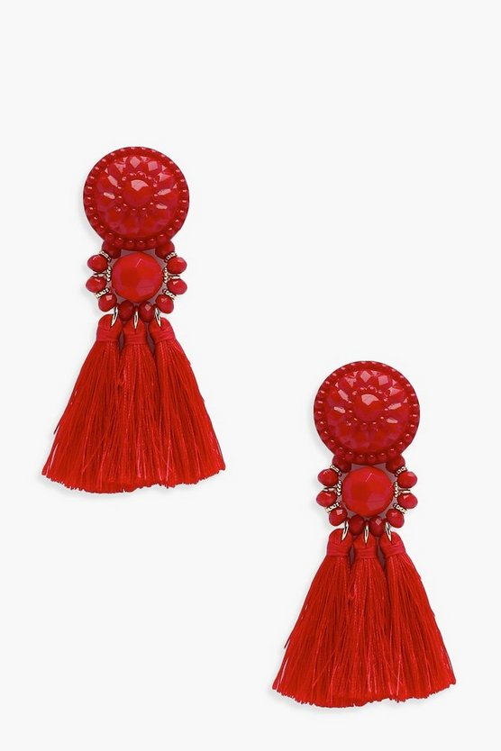 Floral Tassel Bead Statement Earrings